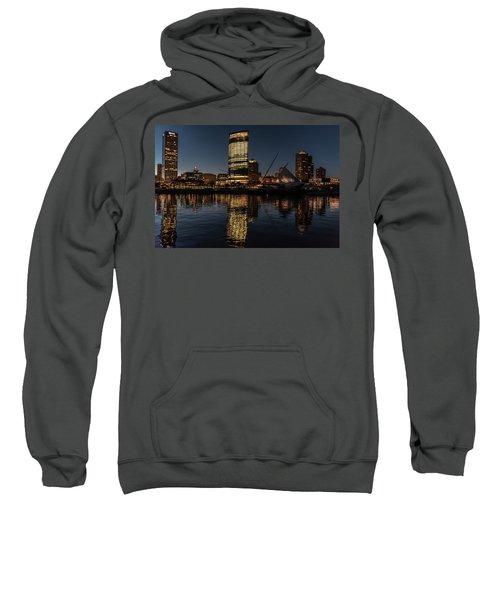 Sweatshirt featuring the photograph Milwaukee Reflections by Randy Scherkenbach