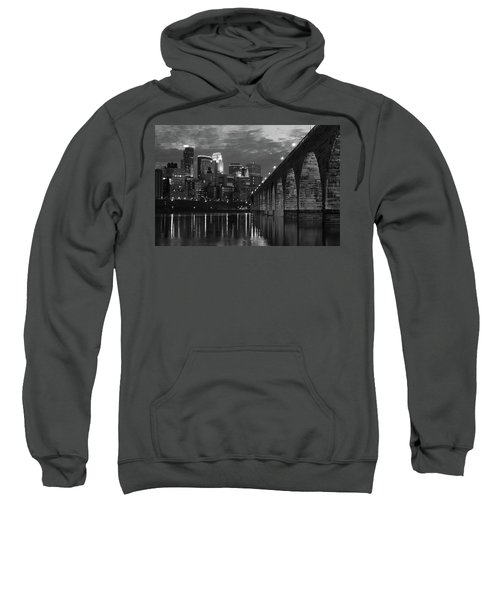 Minneapolis Stone Arch Bridge Bw Sweatshirt