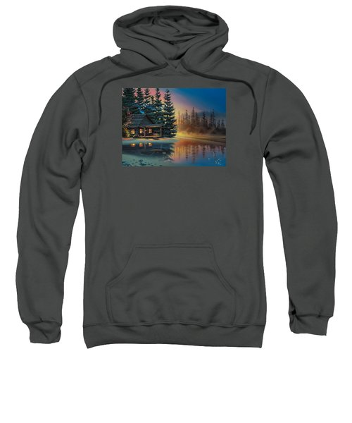 Sweatshirt featuring the painting Misty Refection by Al Hogue
