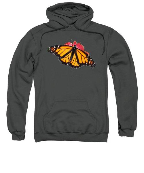 Monarch Butterfly On Red Mums Sweatshirt