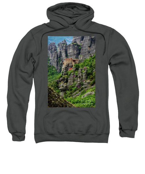 Monastery Of Saint Nicholas Of Anapafsas, Meteora, Greece Sweatshirt