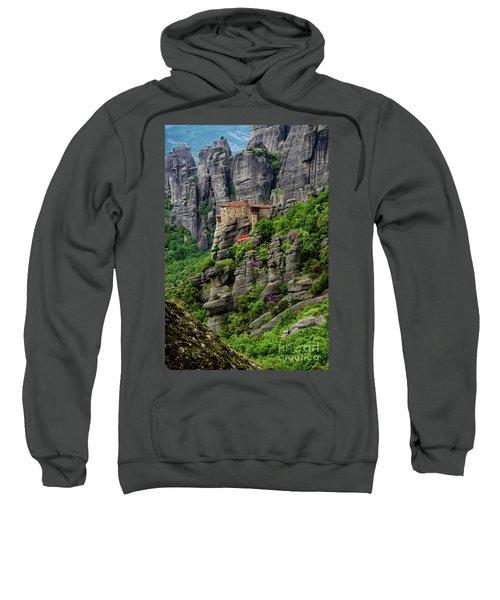 Monastery Of Saint Nicholas Of Anapafsas, Meteora, Greece Sweatshirt