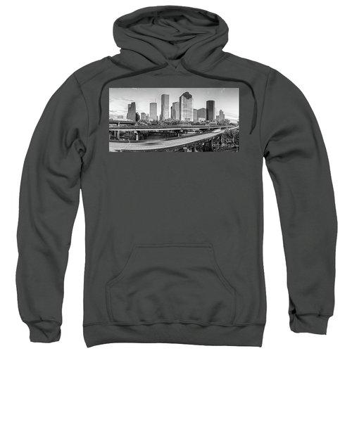 Monochrome Panorama Of Downtown Houston Skyline From Buffalo Bayou Park - Harris County Houston Texa Sweatshirt