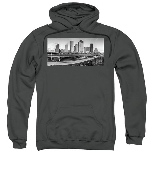 Monochrome Panorama Of Downtown Houston Skyline From Buffalo Bayou Park - Harris County Houston Texa Sweatshirt