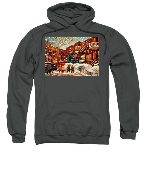 Montreal Street In Winter Sweatshirt