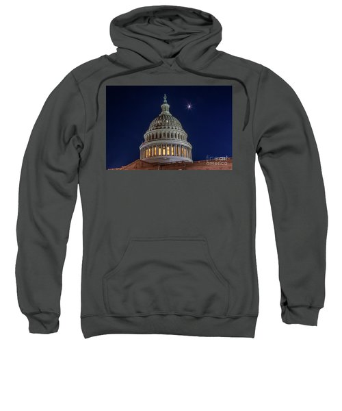 Moon Over The Washington Capitol Building Sweatshirt