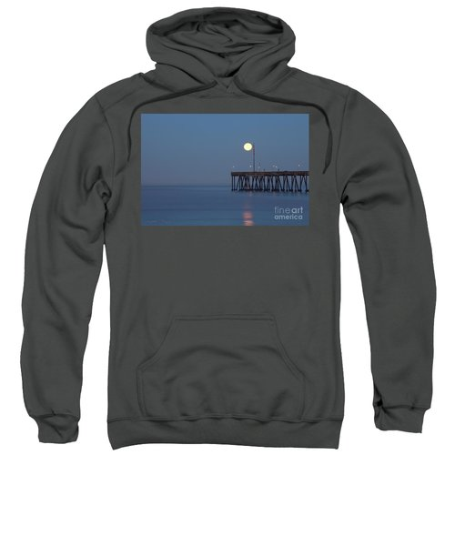 Moonset At The Ventura Pier Sweatshirt