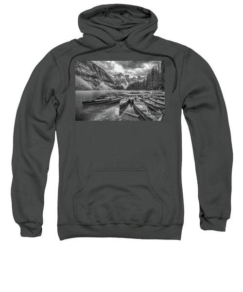 Moraine Lake In Black And White Sweatshirt