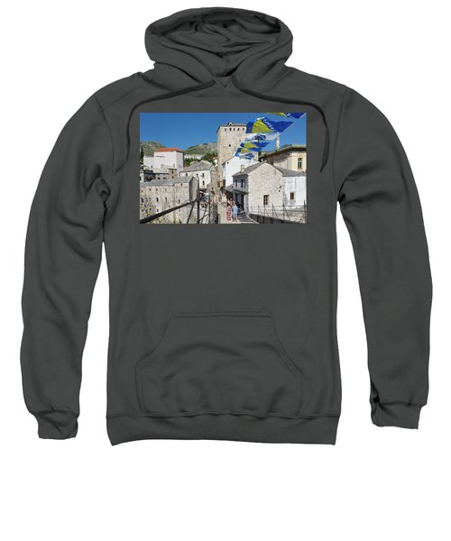 Mostar, Bosnia And Herzegovina.  The Old Town Seen From The Old Bridge. Sweatshirt