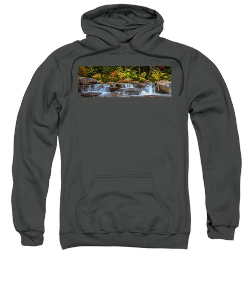 New Hampshire White Mountains Swift River Waterfall In Autumn With Fall Foliage Sweatshirt
