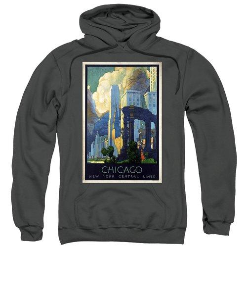 New York Central Lines, Chicago - Retro Travel Poster - Vintage Poster Sweatshirt