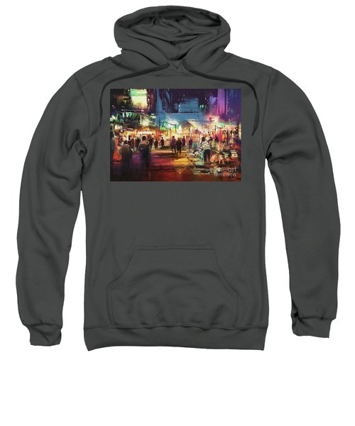 Sweatshirt featuring the painting Night Market by Tithi Luadthong