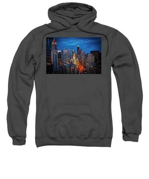 Nighttime Downtown Chicago Cityscape Sweatshirt