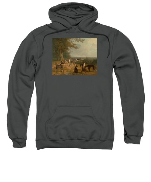 Sweatshirt featuring the painting Nine Greyhounds In A Landscape by Celestial Images