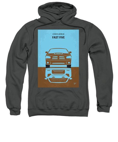 No207-5 My Fast Five Minimal Movie Poster Sweatshirt