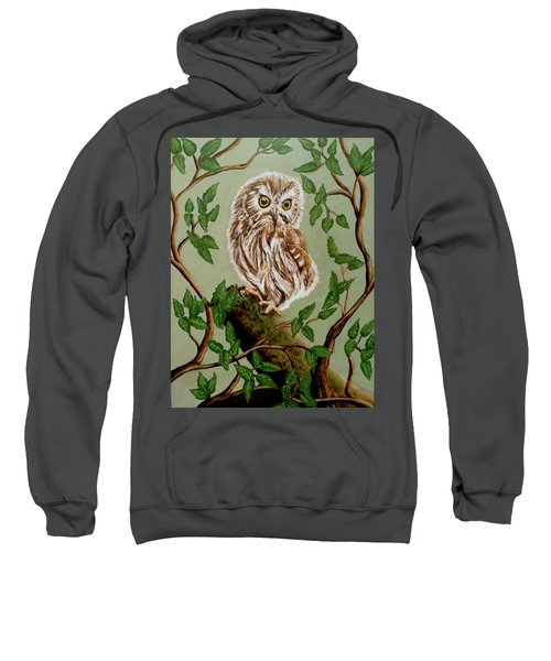 Northern Saw-whet Owl Sweatshirt by Teresa Wing