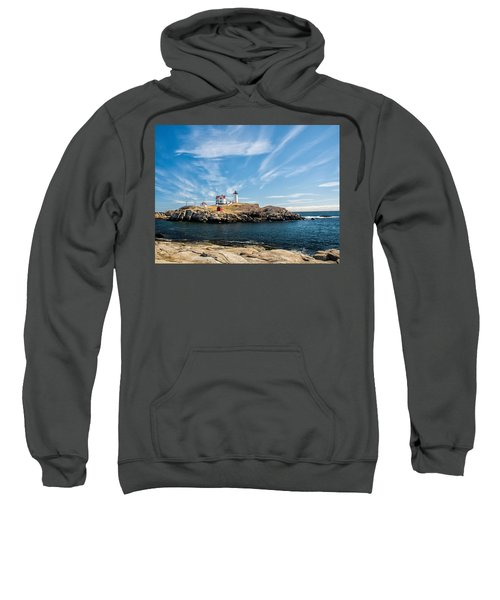 Nubble Lighthouse With Dramatic Clouds Sweatshirt