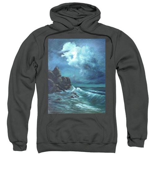 Seascape And Moonlight An Ocean Scene Sweatshirt