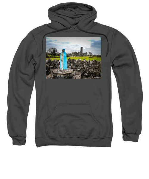 Sweatshirt featuring the photograph Official Greeter At Ireland's Quin Abbey National Monument by James Truett
