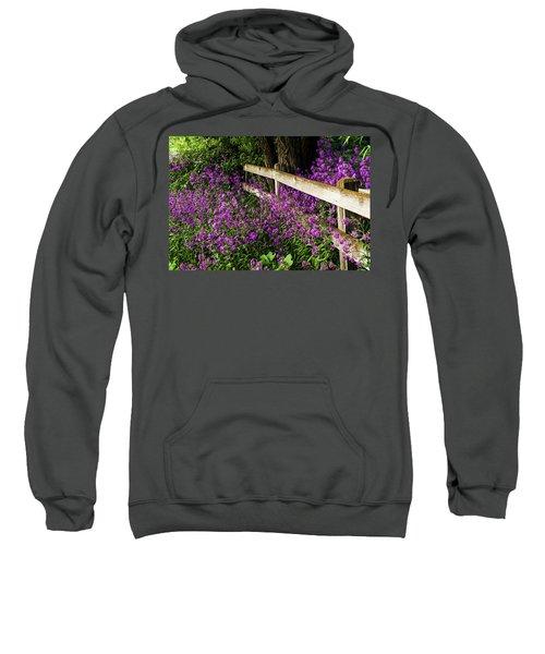 Old Fence And Purple Flowers Sweatshirt