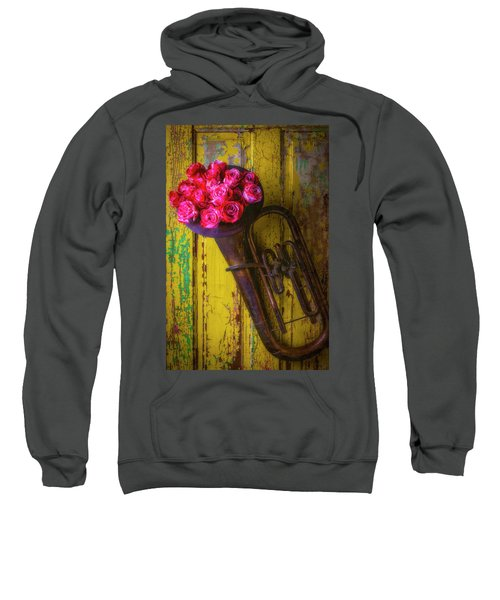 Old Horn And Roses On Door Sweatshirt