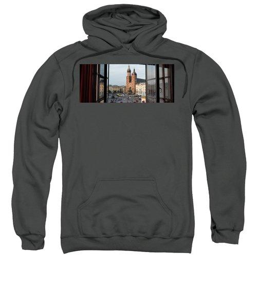 Old Main Square Krakow Poland Panorama Sweatshirt