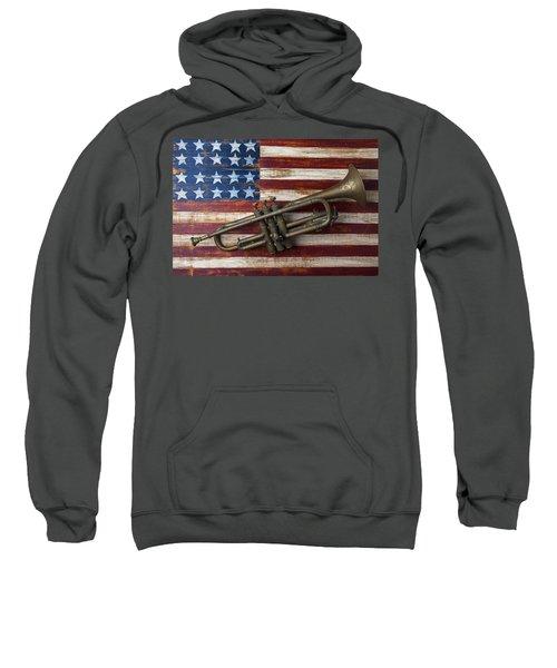 Old Trumpet On American Flag Sweatshirt