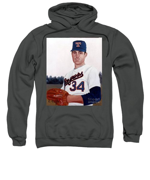 Older Nolan Ryan With The Texas Rangers Sweatshirt