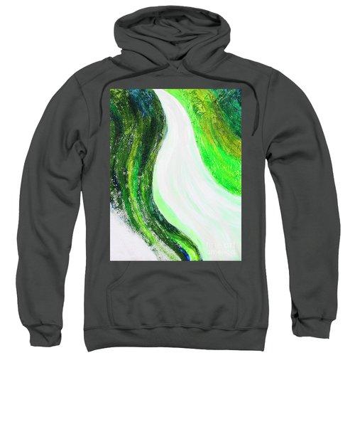 On The Road In Green Sweatshirt