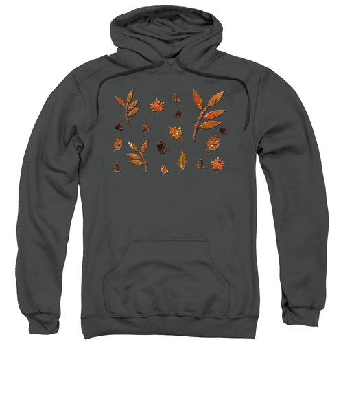 Orange Leaves Pine Cones Sweatshirt