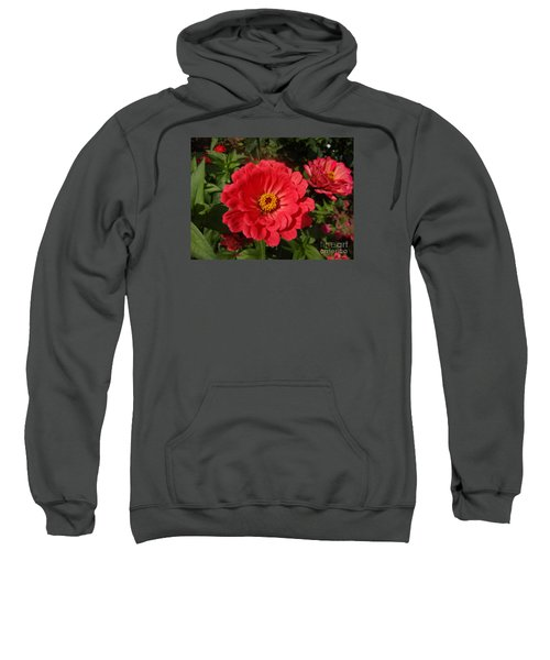 Sweatshirt featuring the photograph Orange Red Zinnia by Rod Ismay