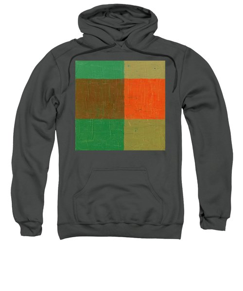 Orange With Brown And Teal Sweatshirt by Michelle Calkins