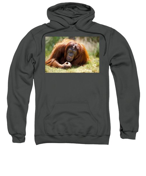 Orangutan In The Grass Sweatshirt by Garry Gay