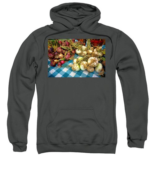 Organic Onions At A Farm Market Sweatshirt