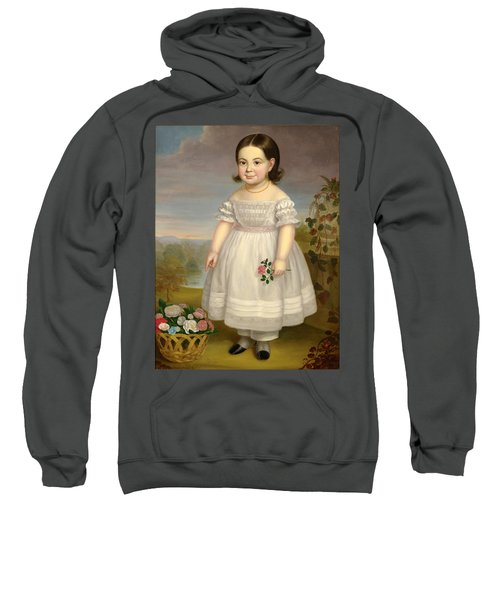 Portrait Of A Little Girl In White Dress With Basket Of Flowers Sweatshirt