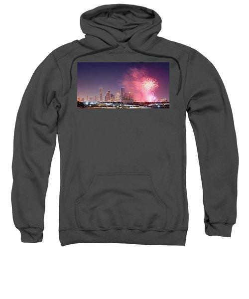 Panorama Of Downtown Houston Skyline Fireworks On The 4th Of July - Harris County Texas Sweatshirt