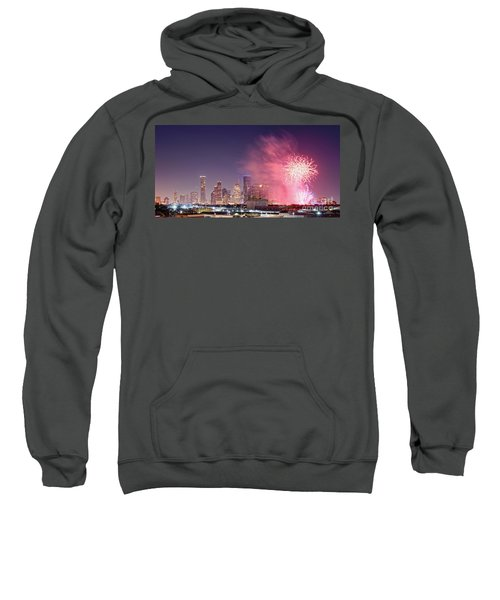 Panorama Of Downtown Houston Skyline Fireworks On The 4th Of July - Harris County Texas Sweatshirt
