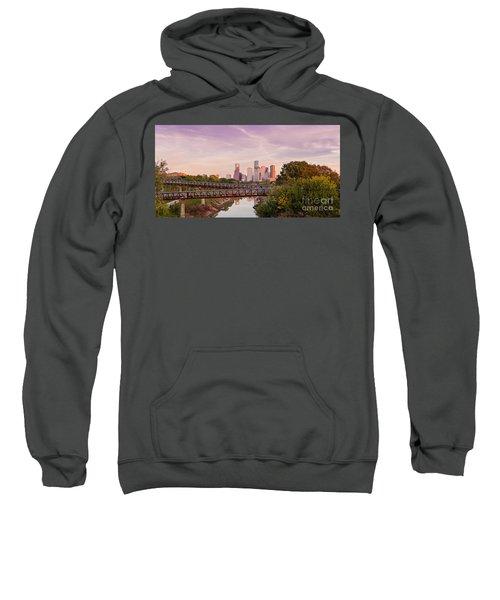 Panorama Of Downtown Houston Skyline From Studemont Drive - Buffalo Bayou Park Houston Texas Sweatshirt