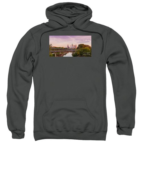 Panorama Of Downtown Houston Skyline From Studemont Drive - Buffalo Bayou Park Houston Texas Sweatshirt