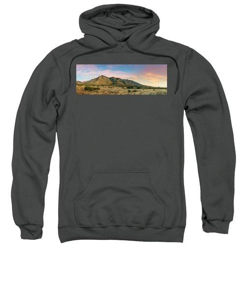 Panorama Of Hunter Peak And Frijole Ridge At Guadalupe Mountains National Park - West Texas Sweatshirt