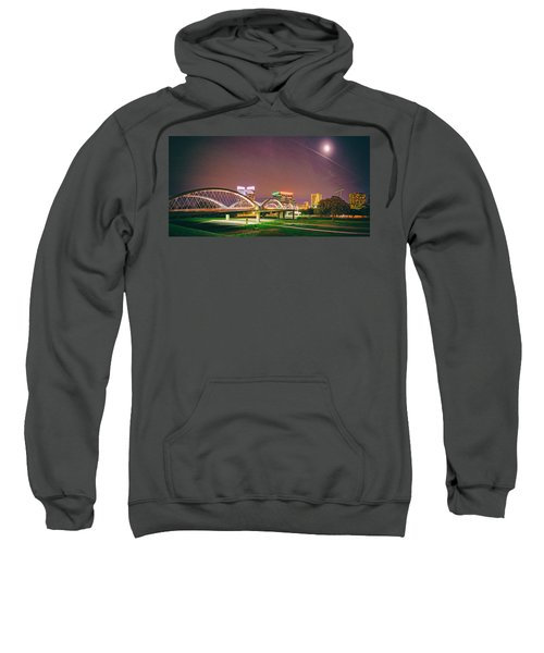 Panorama Of The Seventh Street Bridge And Downtown Fort Worth With Full Moon Above - Trinity River Sweatshirt
