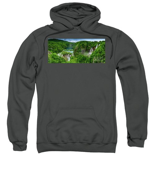 Panorama Of Turquoise Lakes And Waterfalls - A Dramatic View, Plitivice Lakes National Park Croatia Sweatshirt