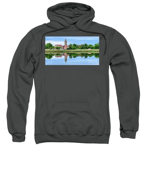 Panoramic Reflections Of Nin, Croatia Sweatshirt