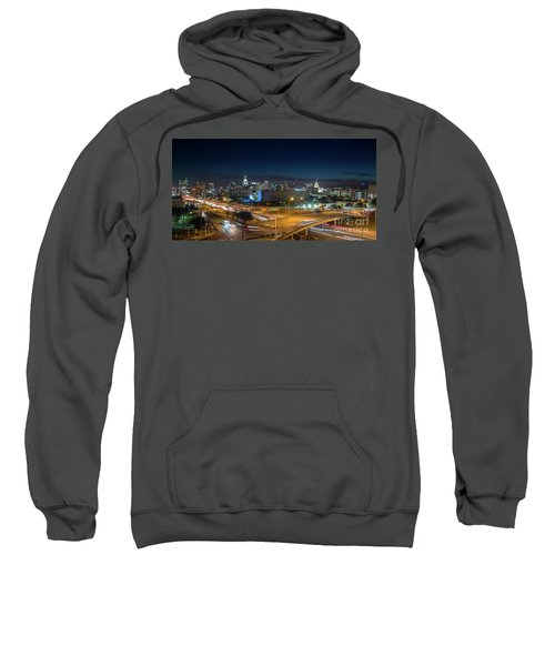 Panoramic View Of Busy Austin Texas Downtown Sweatshirt