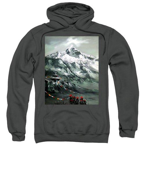 Panoramic View Of Mountain Everest Sweatshirt