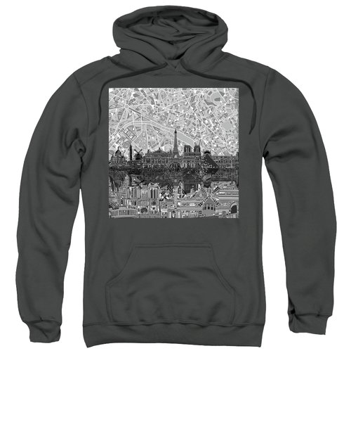 Paris Skyline Black And White Sweatshirt by Bekim Art