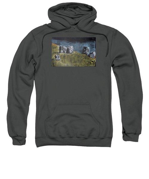 Pastel Stones On Black Sweatshirt