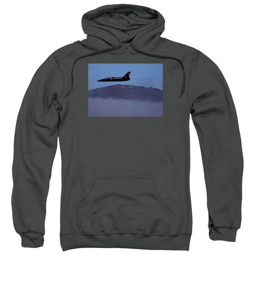 Patriot Jet Skims The Fog Over San Francisco Bay Sweatshirt