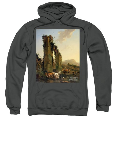 Peasants With Cattle By A Ruined Aqueduct Sweatshirt