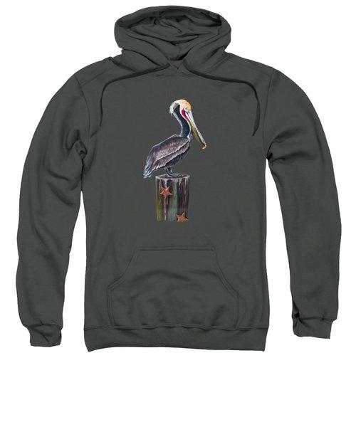 Pelican Standing On A Piling Sweatshirt by Jennifer Rogers